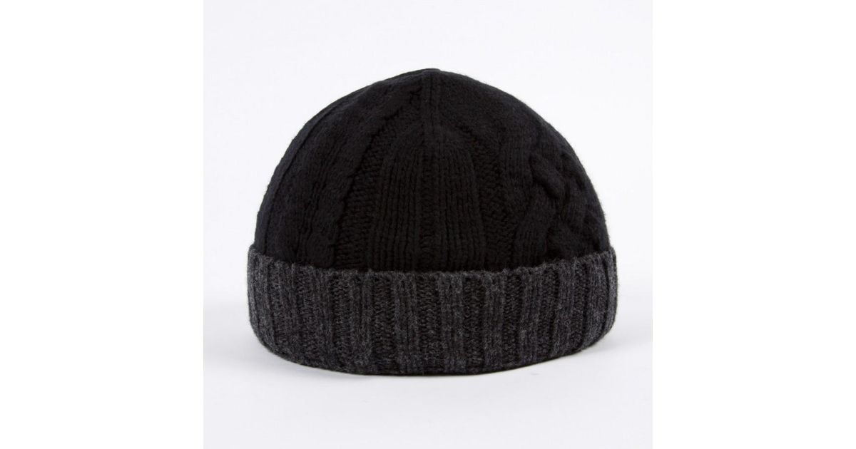 6d636503a3d Lyst - Paul Smith Men s Black And Grey Cable Knit Beanie Hat in Black for  Men
