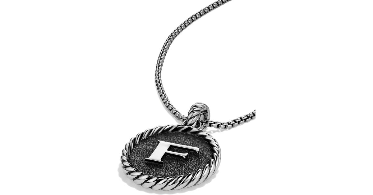 Lyst david yurman cable collectibles initial charm in metallic aloadofball Choice Image