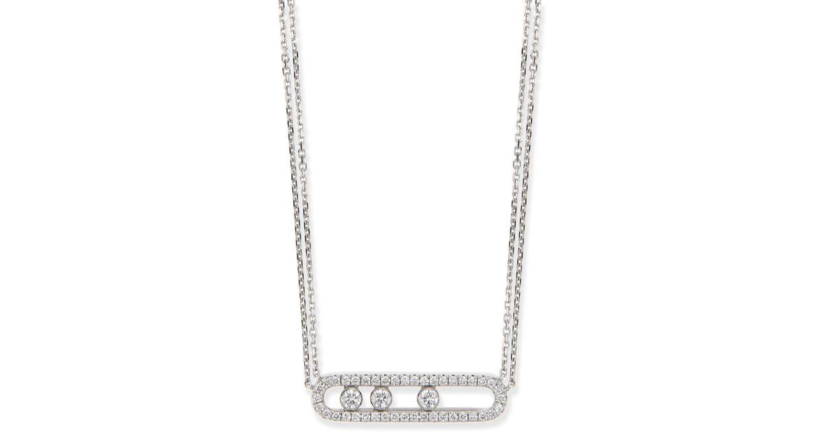 Lyst messika 18k sliding diamond pendant necklace in white aloadofball Images
