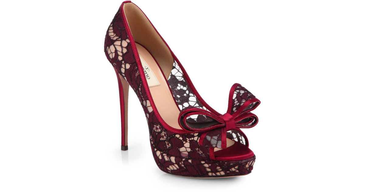 af563ea4634 Lyst - Valentino Couture Lace Bow Platform Pumps in Red