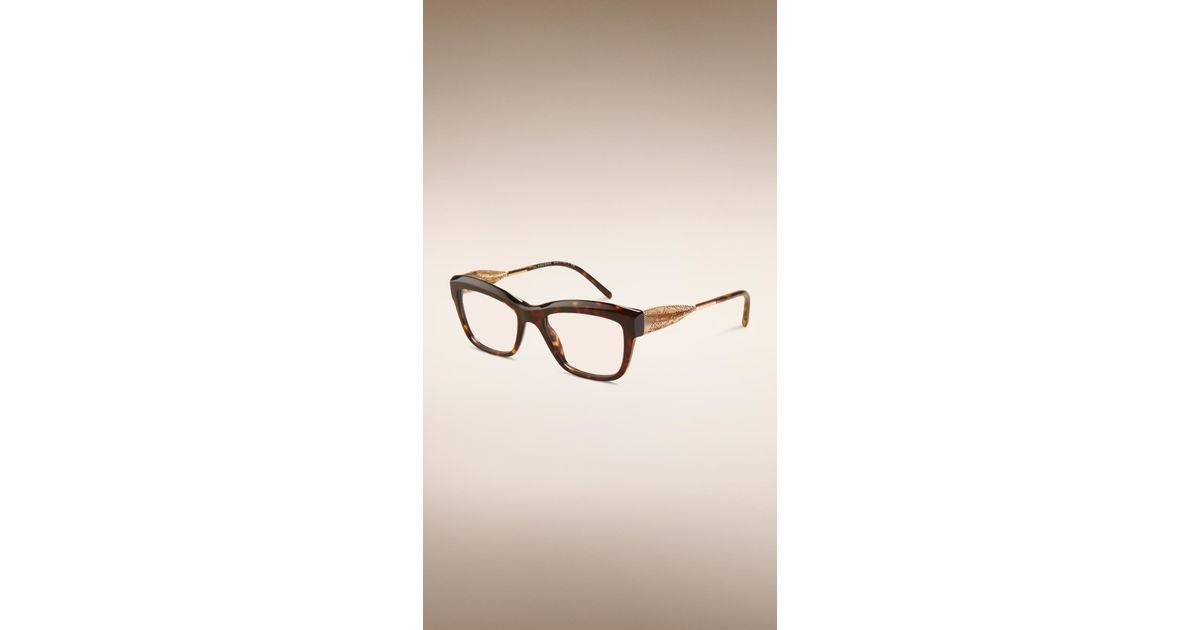 2625482df8 Lyst - Burberry Gabardine Lace Collection Cat-eye Optical Frames