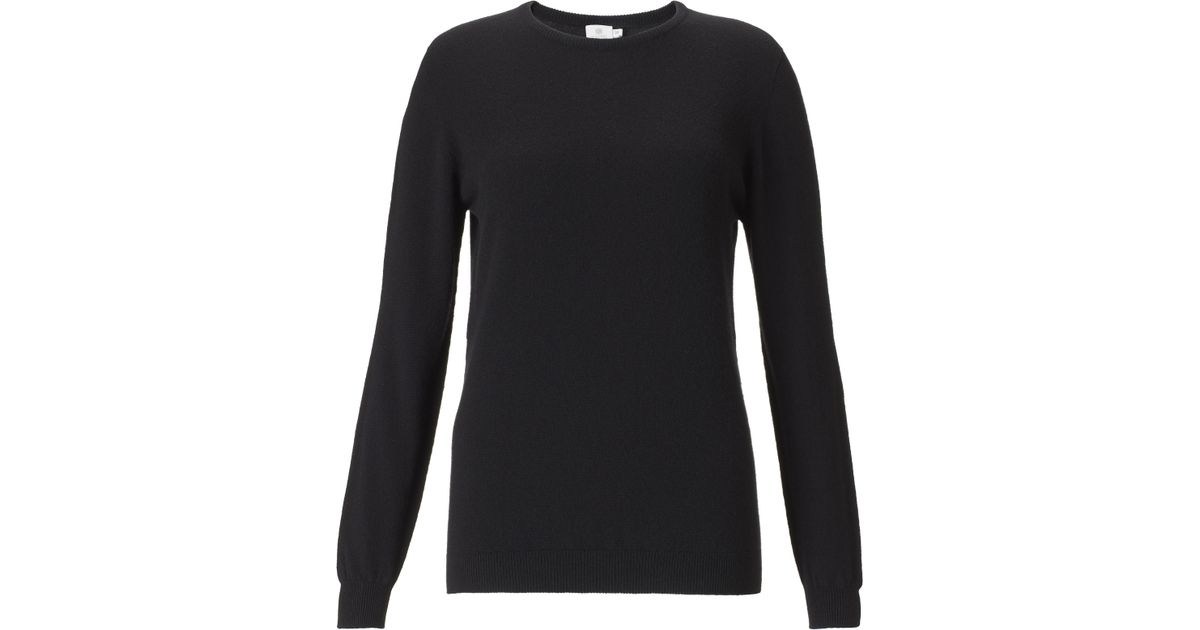 Sunspel Women's Cashmere Crew Neck Jumper in Black | Lyst