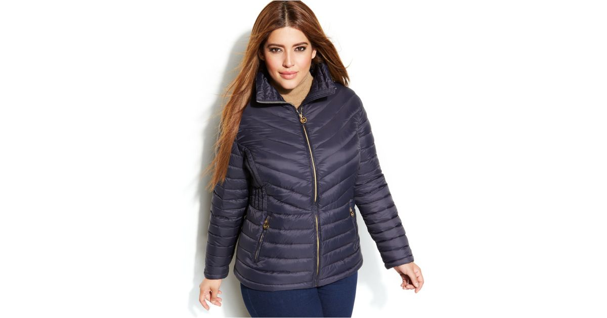 77aad0e691a Michael Kors Michael Plus Size Packable Quilted Down Puffer Coat in Blue -  Lyst
