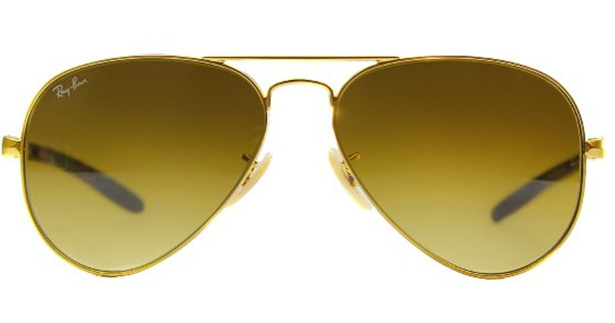 5a28a962f6 Ray-Ban Rb 8307 112 85 Matte Gold Aviator Carbon Fibre Sunglasses-58mm in  Black - Lyst