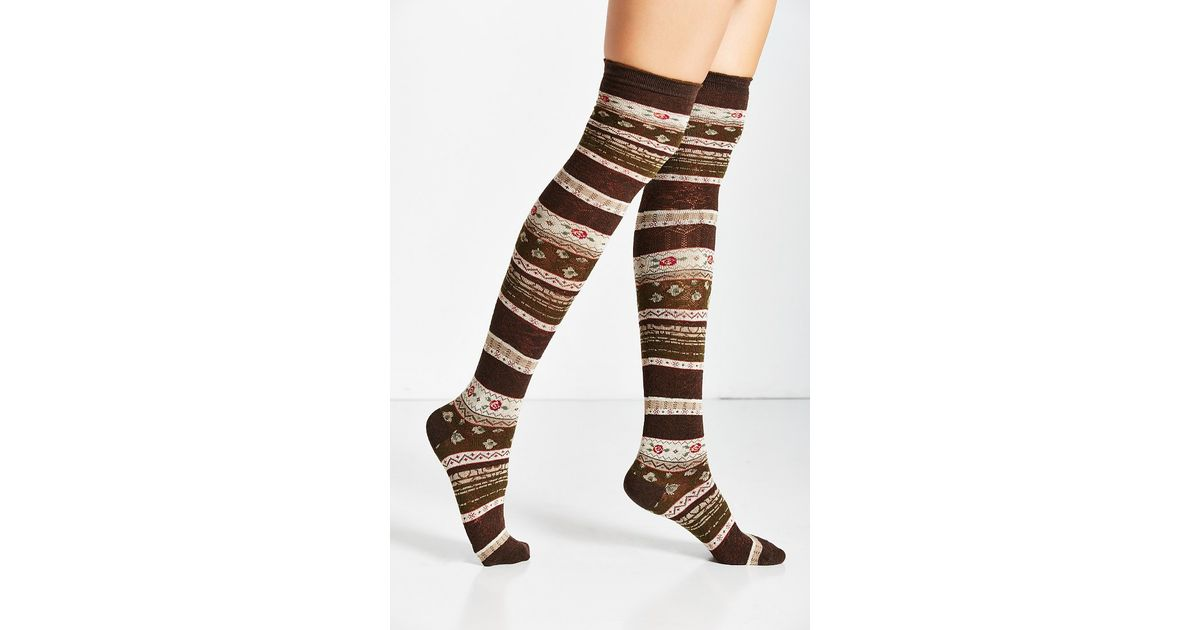 Urban outfitters Funky Fair Isle Over-the-knee Sock in Brown | Lyst