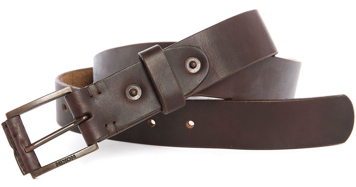 nixon brown horween leather legacy belt in brown for