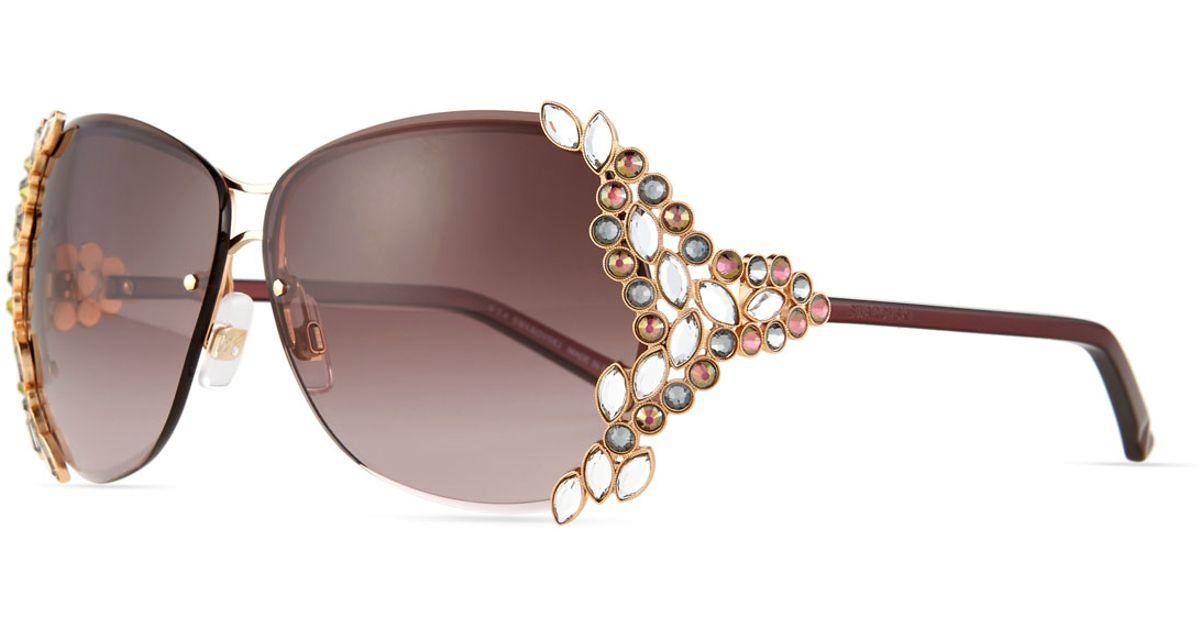 4882add126a Lyst - Swarovski Special Edition   174  Crystal Sunglasses in Metallic