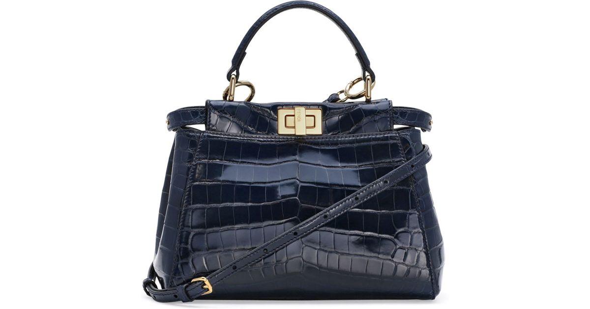 Lyst - Fendi Peekaboo Crocodile Mini Satchel Bag in Blue 2b147c9dd95c6