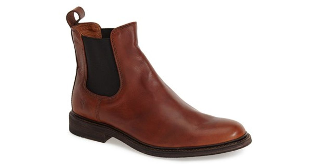 frye 39 james 39 chelsea boot in brown for men cognac leather lyst. Black Bedroom Furniture Sets. Home Design Ideas