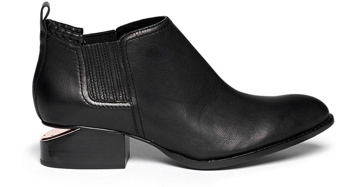 alexander wang 39 kori 39 cutout heel leather chelsea boots in black lyst. Black Bedroom Furniture Sets. Home Design Ideas