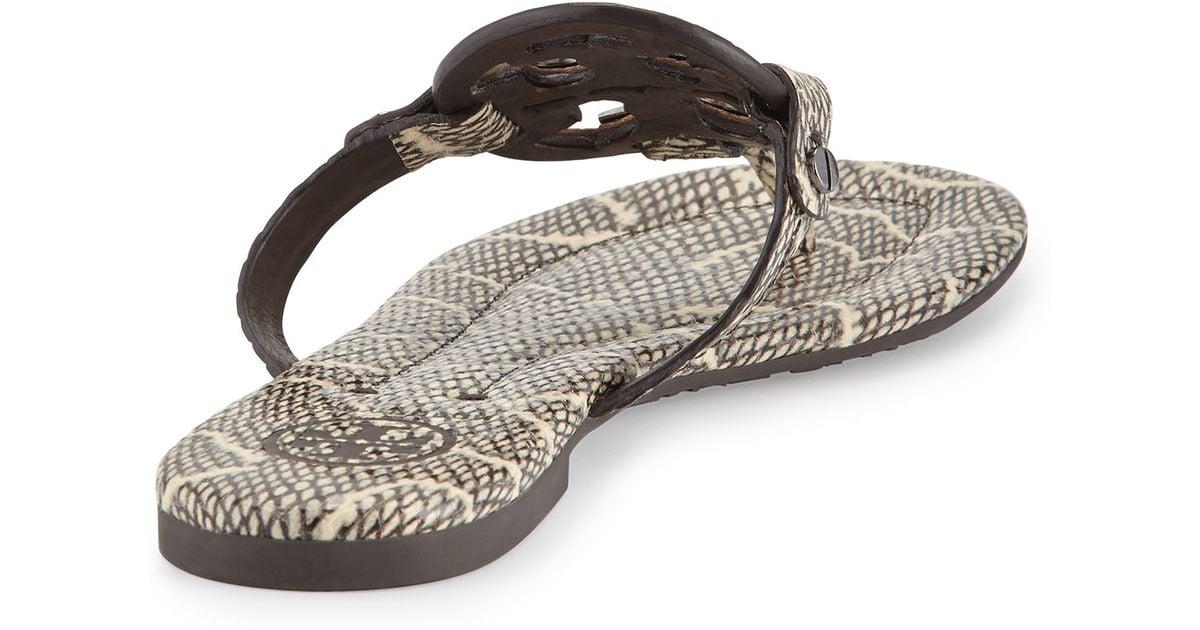 6c072799fa603 ... Lyst - Tory Burch Miller 2 Snake-Embossed Medallion Sandal in Black  best quality 93c20 ...