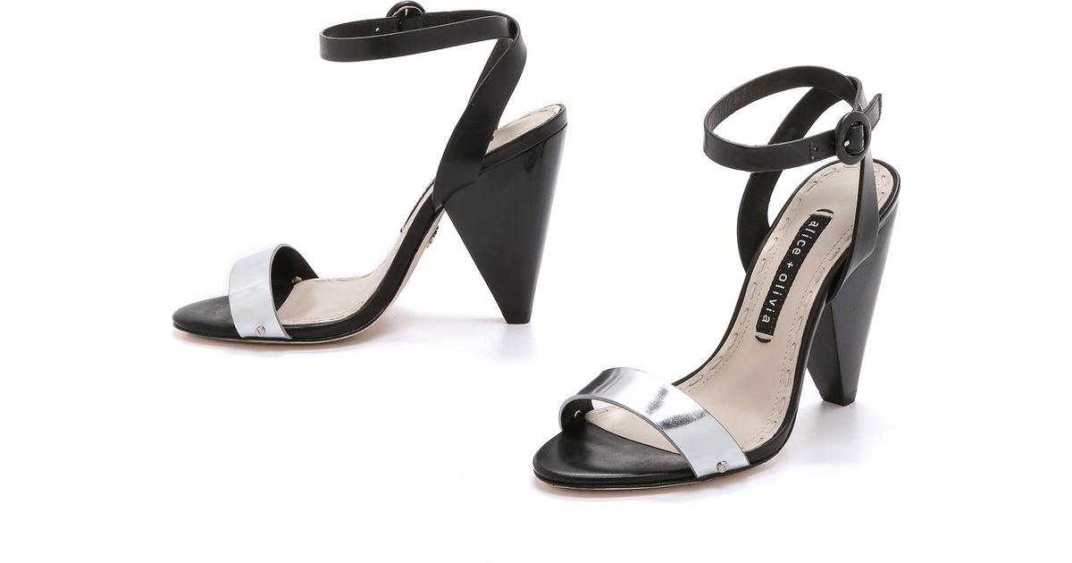 Lyst - Alice   olivia Cici Cone Heels - Black/silver in Black
