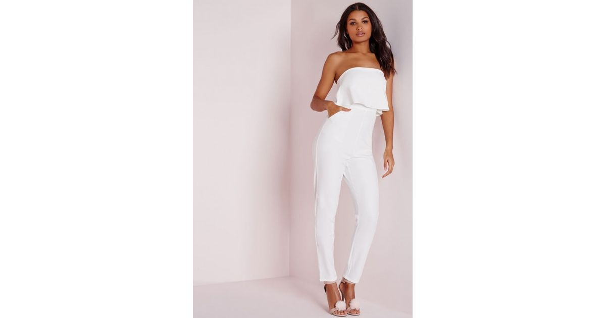 fce263bc1bf Lyst - Missguided Double Layer Bandeau Jumpsuit White in White
