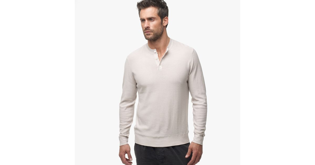 James Perse Gassed Cotton Henley Sweater In Natural For