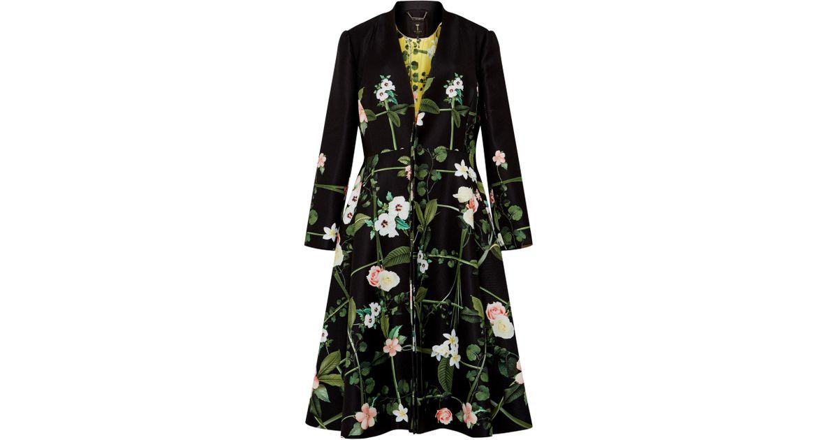 3328ccafaf09f Ted Baker Giova Secret Trellis Textured Coat in Black - Lyst