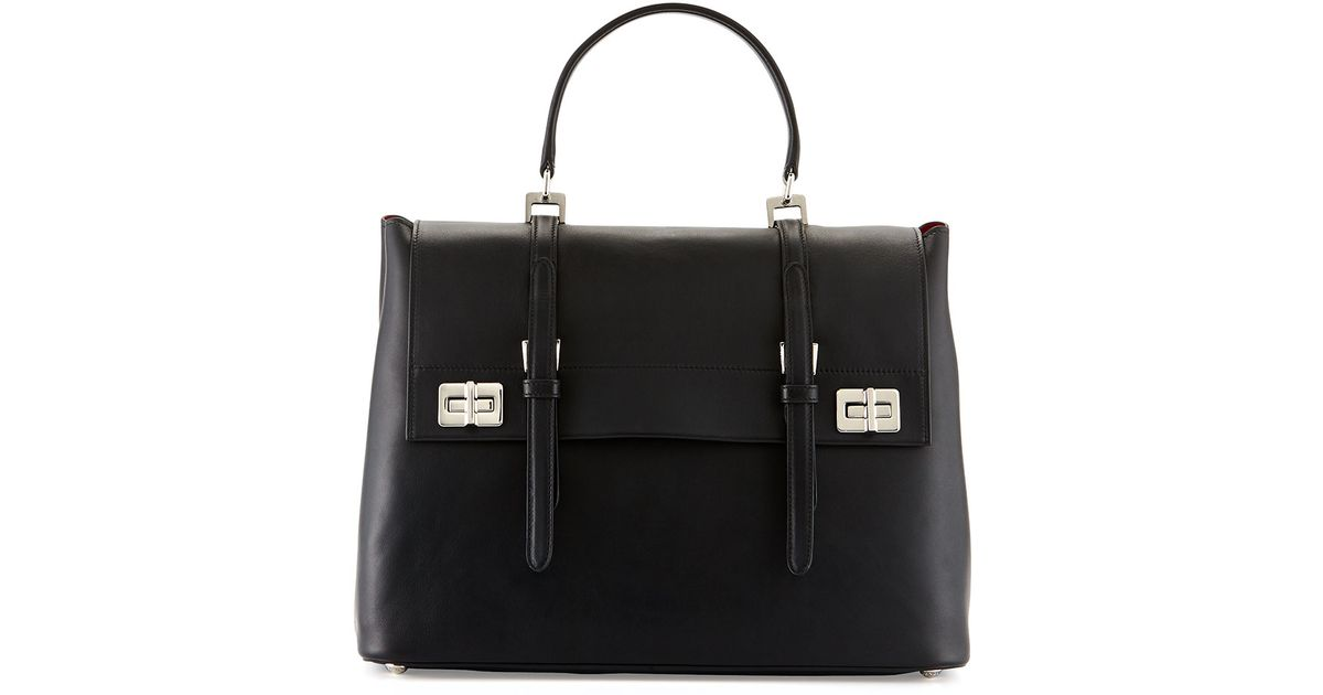 634cef276481a ... usa lyst prada lux calf large flap satchel bag in black 33f18 f606e