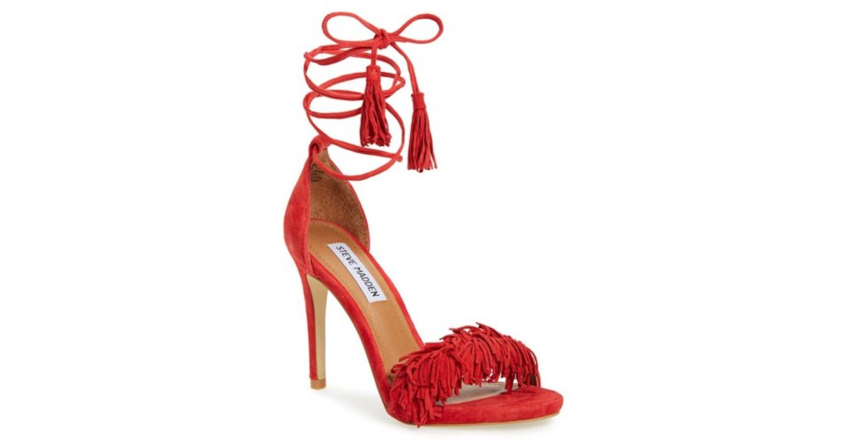 68f1f8813d5 Lyst - Steve Madden Sassey Fringed Suede Sandals in Red