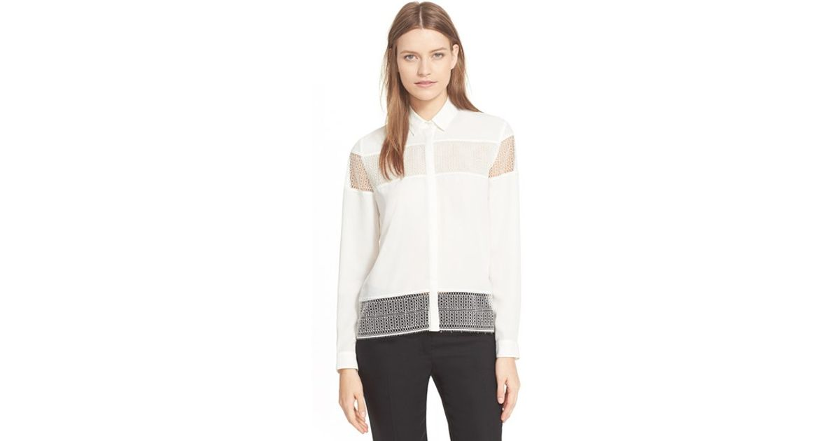 e270de67c6 The Kooples Lace Inset Crepe Shirt in White - Lyst