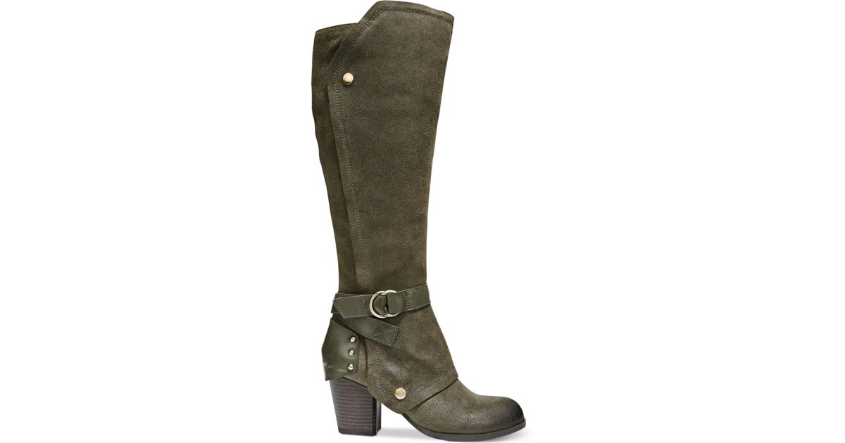 fergie total cuffed knee high boots in green lyst