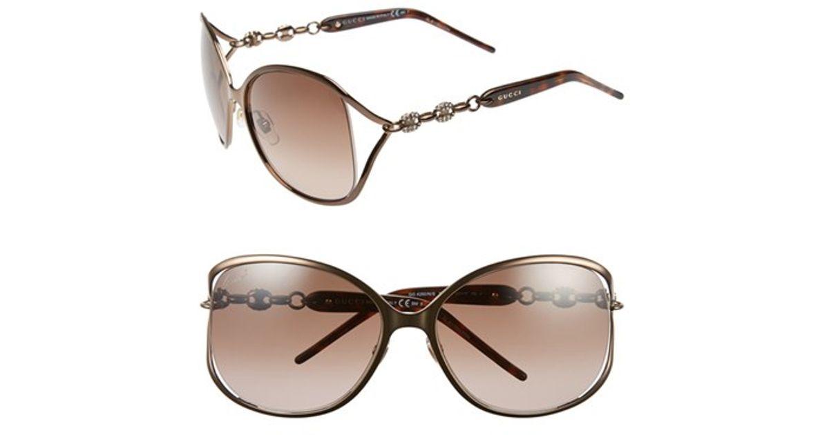 e8b51f1f113 Lyst - Gucci  marina Chain  60mm Swarovski Crystal Sunglasses - Bronze in  Brown