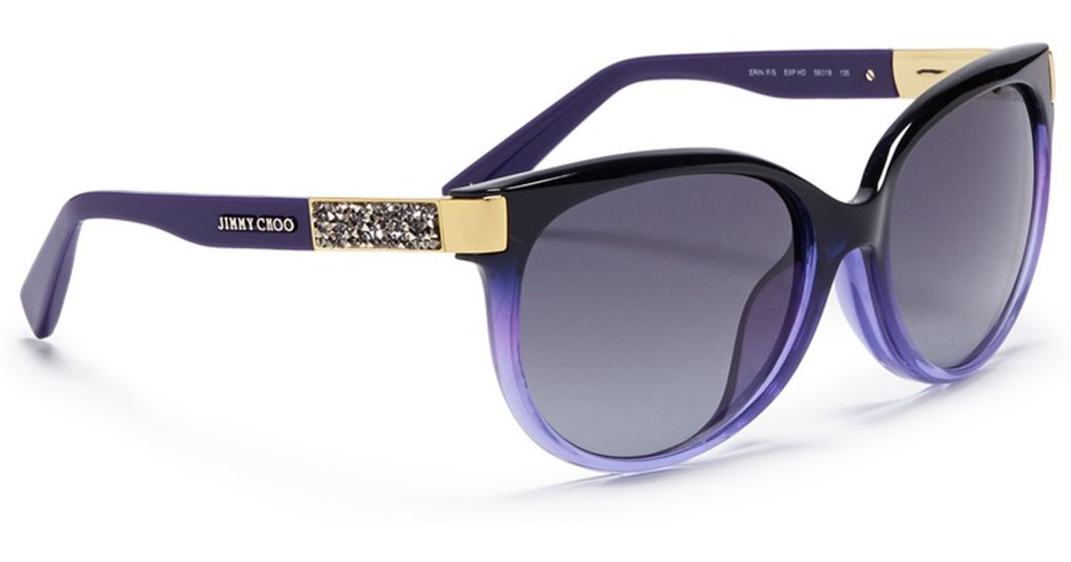db4fc53a152 Lyst - Jimmy Choo  erin  Crystal Temple Ombré Acetate Sunglasses in Purple