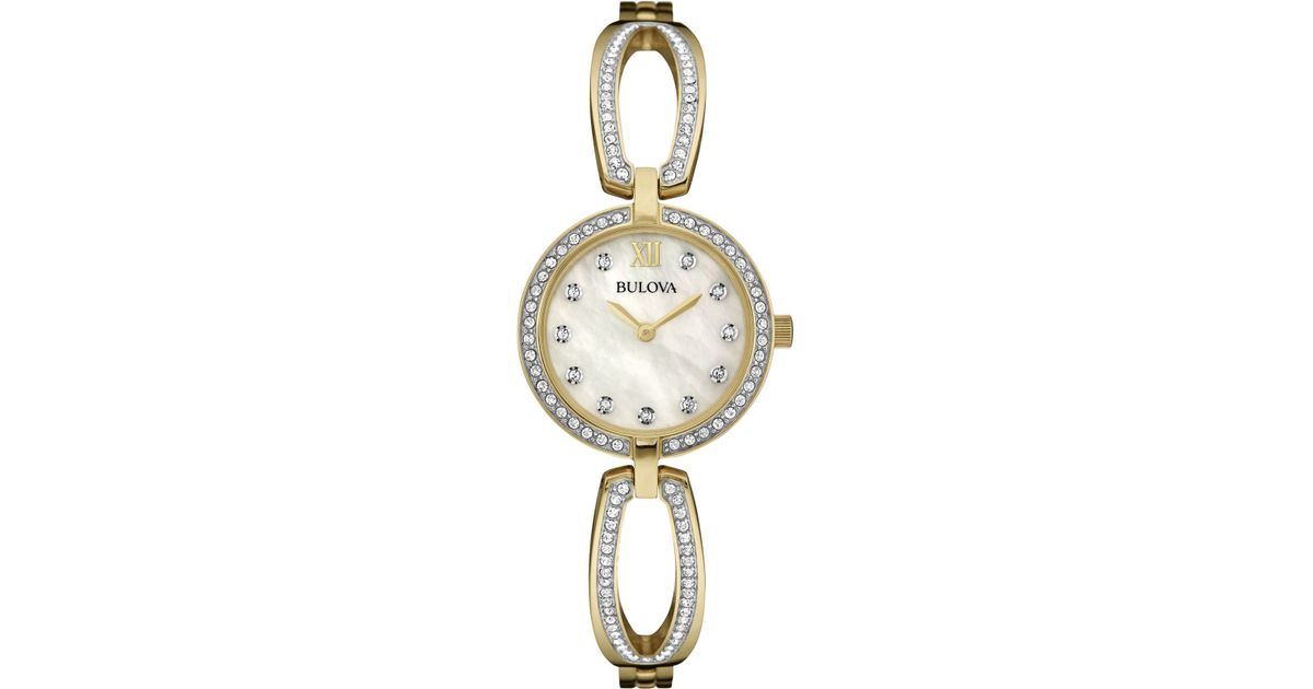 Bulova Women S Crystal Accent Gold Tone Stainless Steel