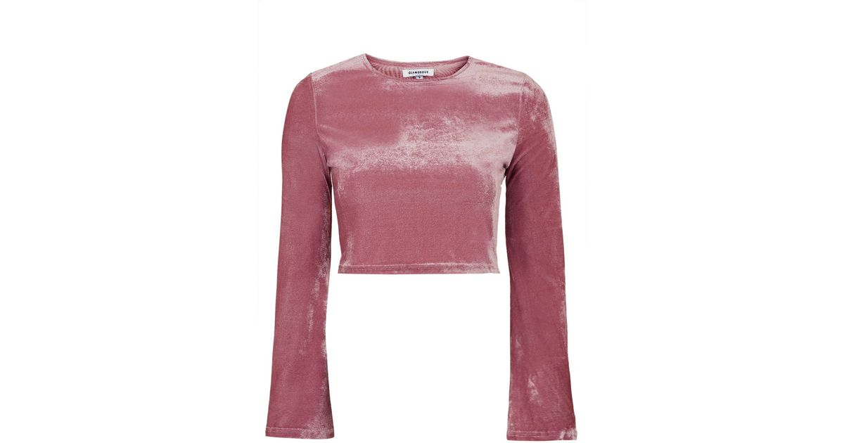6f1a2a54d900e TOPSHOP Cropped Velvet Top By Glamorous in Pink - Lyst