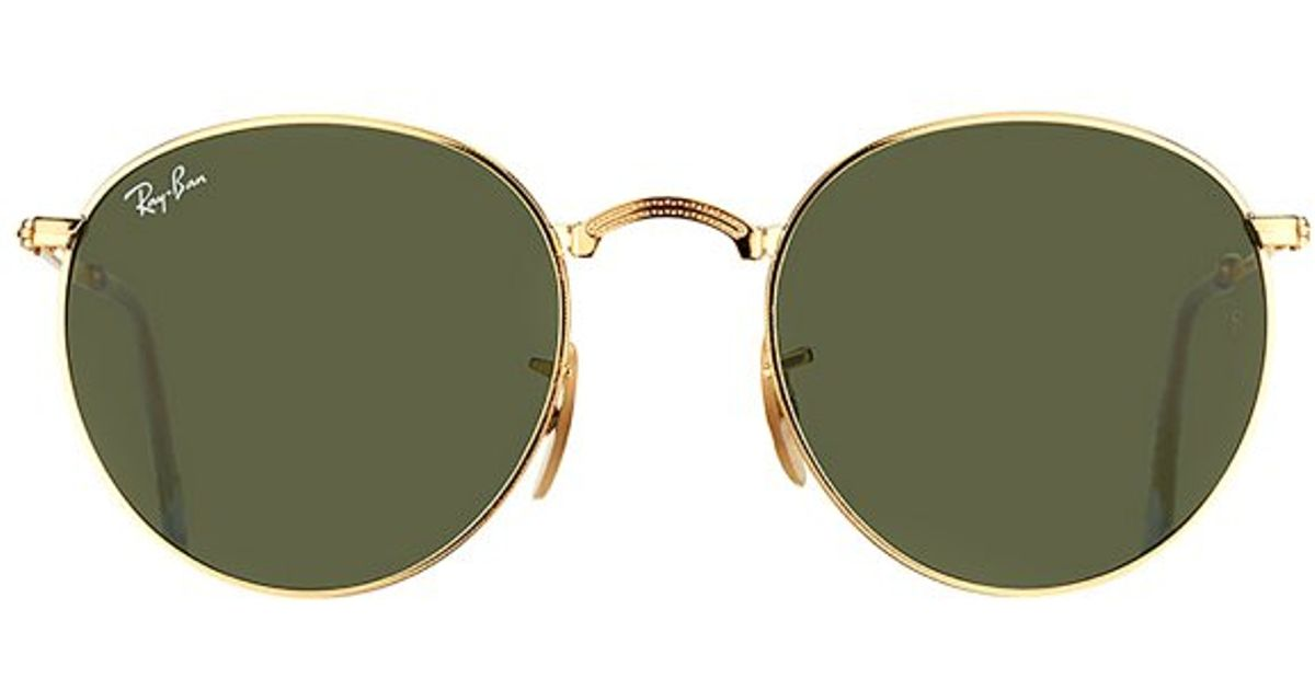 Ray Ban Foldable Sunglasses  ray ban round folding rb 3532 001 gold foldable metal sunglasses