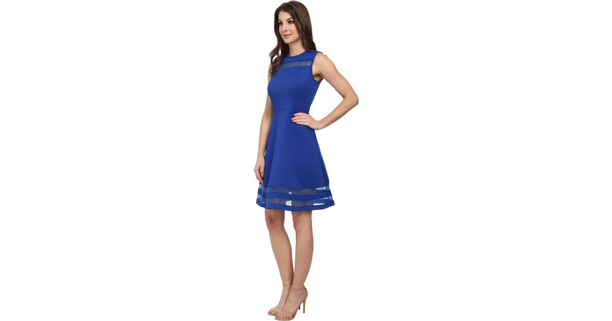 7f3245d3114 Lyst - Calvin Klein Fit And Flare With Illusion Stripe Dress in Blue