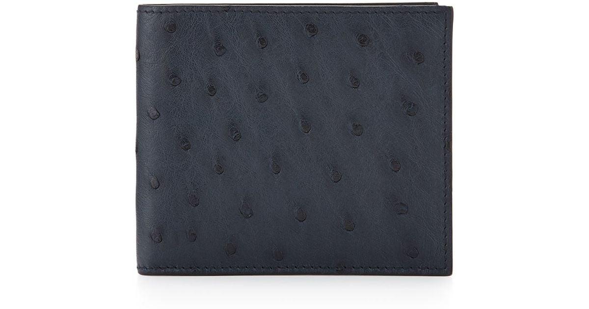 07ddbff6db8 Lyst - Prada Ostrich Bi-fold Wallet in Blue for Men