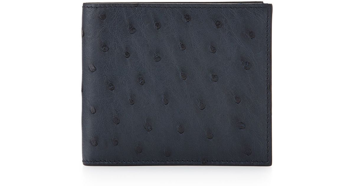 57570fe362a6fc ... saffiano leather bi colour bifold wallet with logo baltic black ffbdc  4997f sweden lyst prada ostrich bi fold wallet in blue for men 0754b 1f633  ...