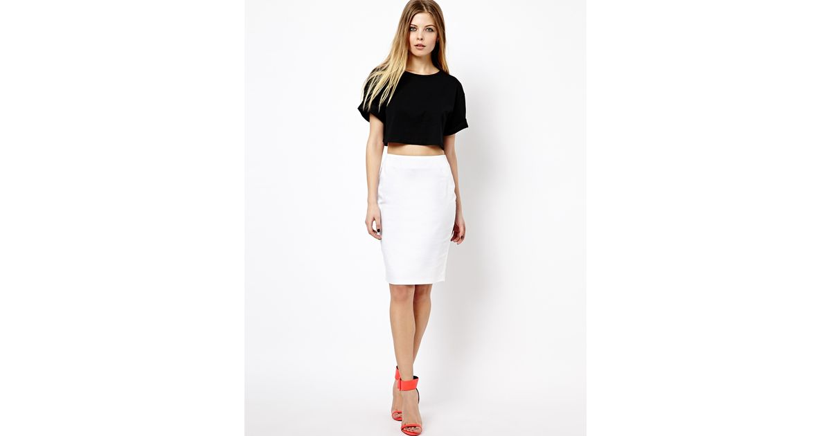 Asos High Waisted Pencil Skirt - White in White | Lyst