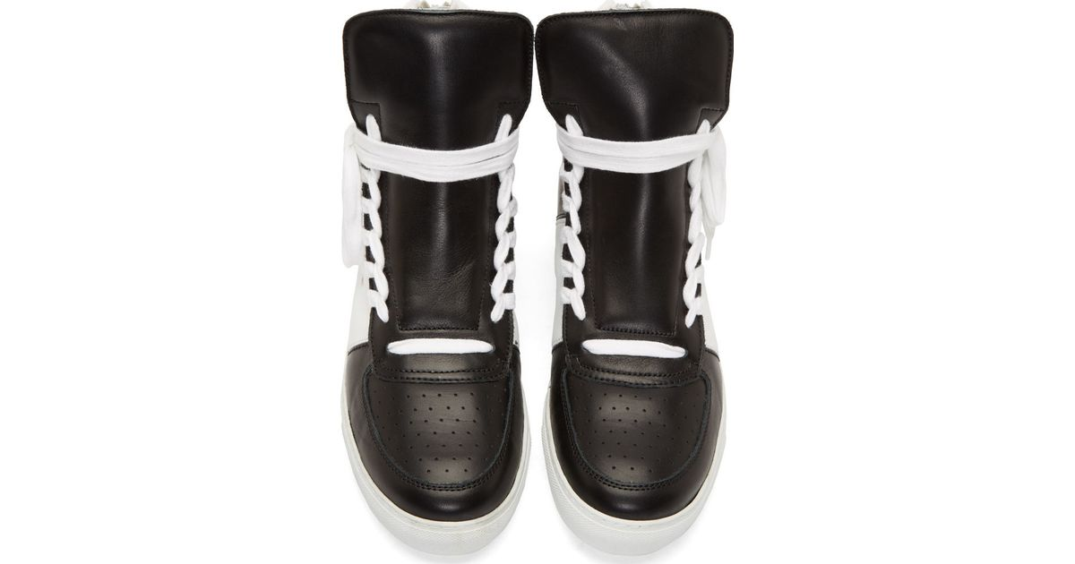 23fe0ffeab Lyst - Kris Van Assche Black   White Leather High-top Sneakers in Black for  Men