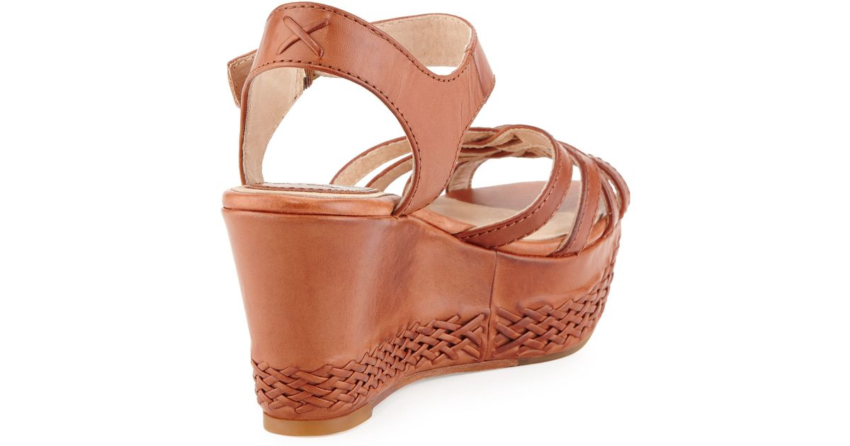 dcfe469d00f Lyst - Frye Carlie 2 Piece Woven Leather Wedge Sandal in Brown