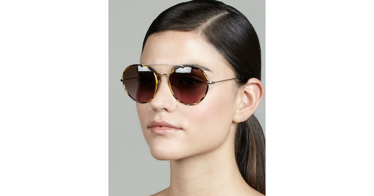 dba54d8d45b ... spain lyst prada catwalk round aviator sunglasses in brown 12ad4 14476