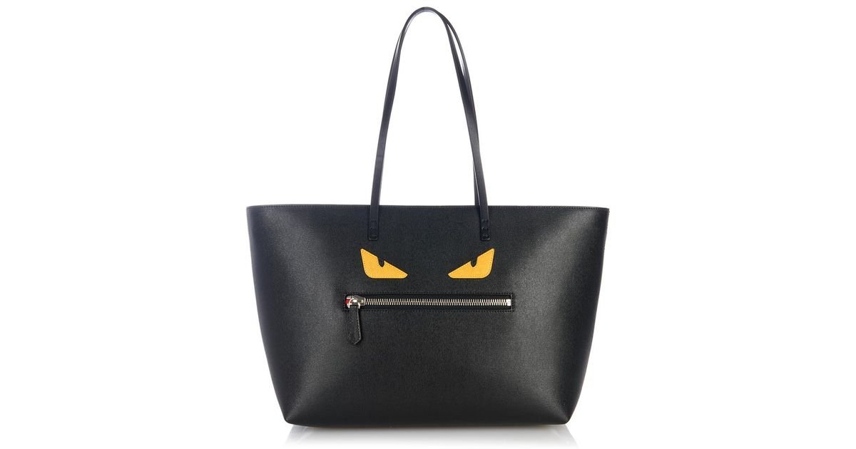 Lyst - Fendi Roll Monster Leather Tote in Black 348925d5ae154