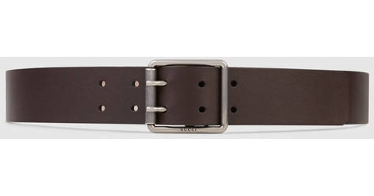 f5a432c8ed0 Lyst - Gucci Leather Belt With Square Buckle in Brown