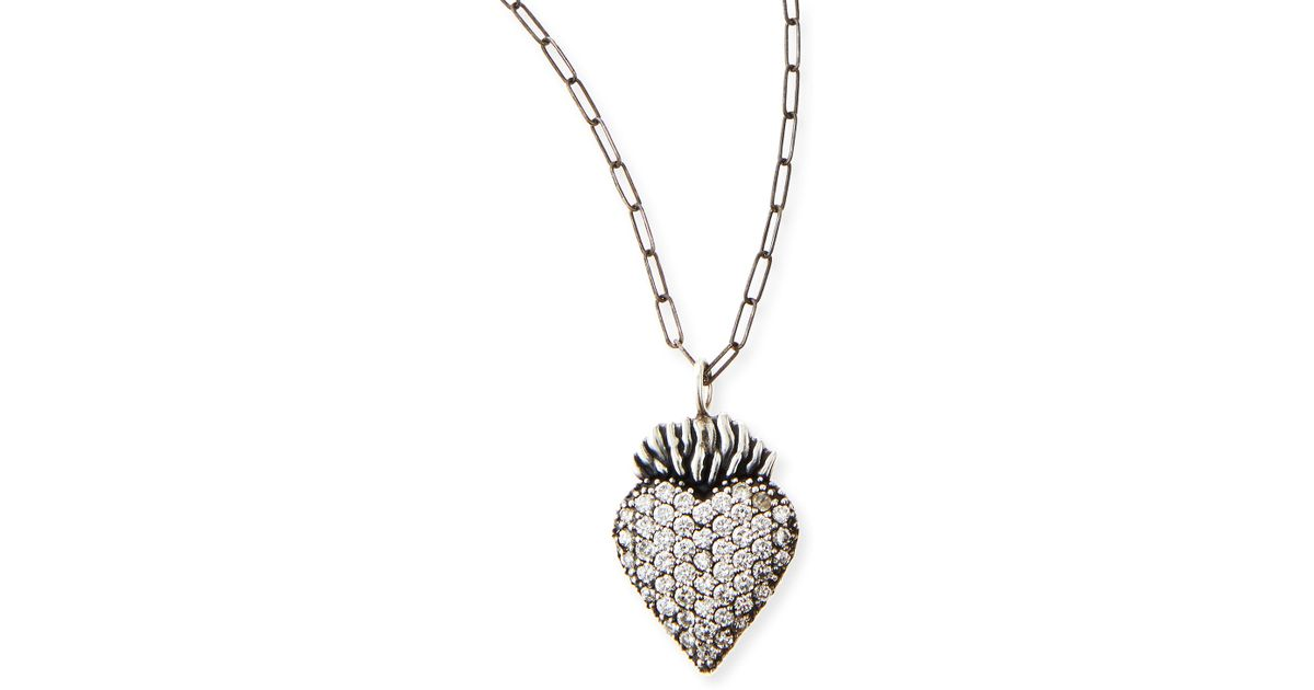 Katie design jewelry Black Burning Heart Charm Necklace in
