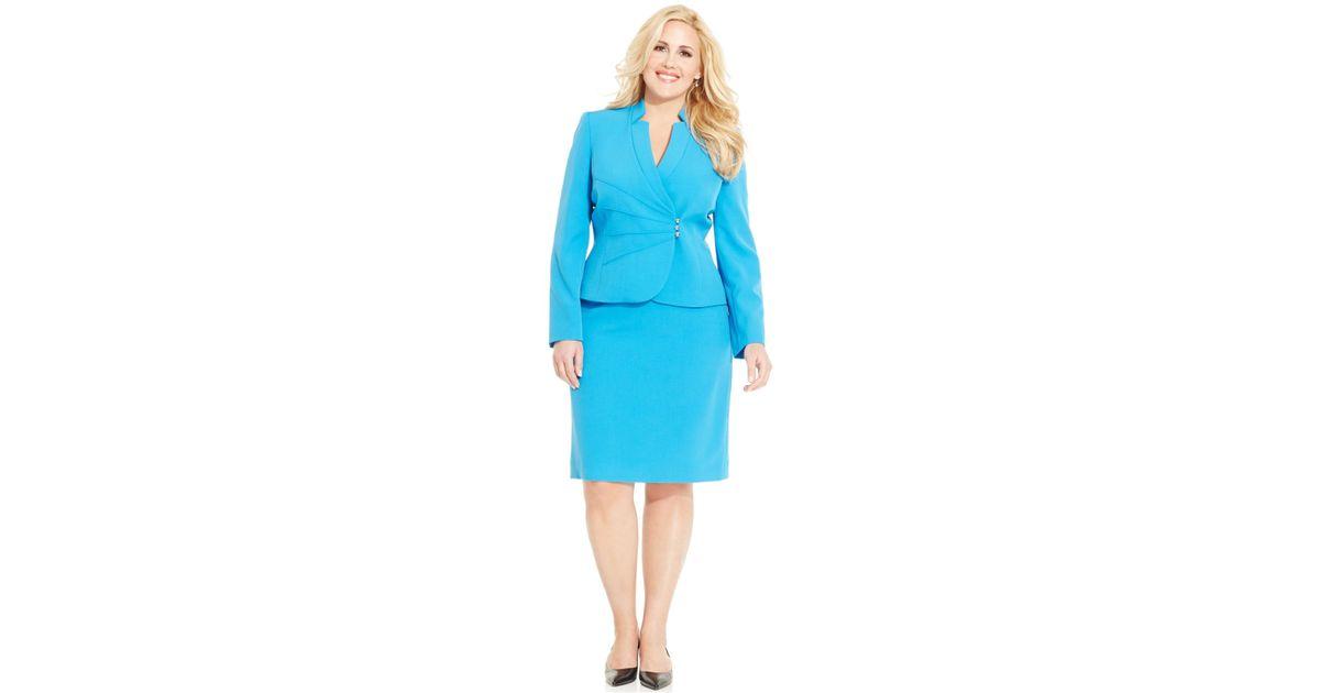 Lyst Tahari Plus Size Skirt Suit In Blue
