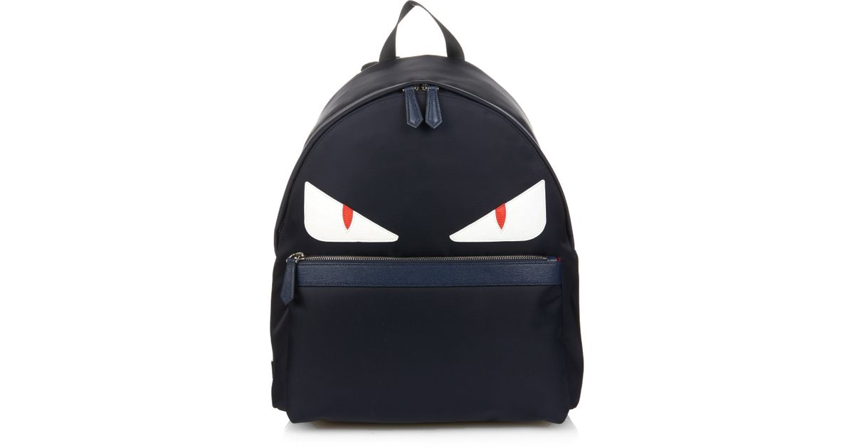 f76faeabc39e Lyst - Fendi Bag Bugs Nylon And Leather Backpack in Blue for Men