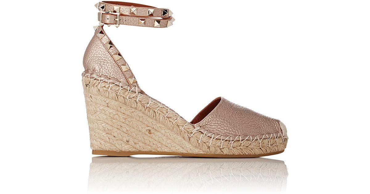 1309c52f80c Lyst - Valentino Women s Rockstud Ankle-strap Wedge Espadrilles