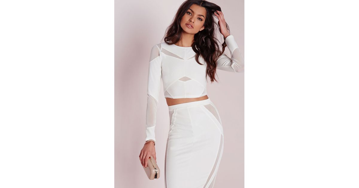 92119b6ce1 Lyst - Missguided Mesh Panelled Long Sleeve Crop Top White in White