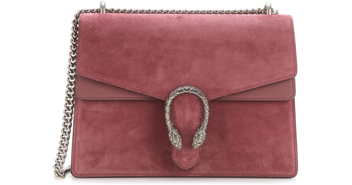 b16697f9a Gucci Dionysus Suede and Leather Shoulder Bag in Red - Lyst