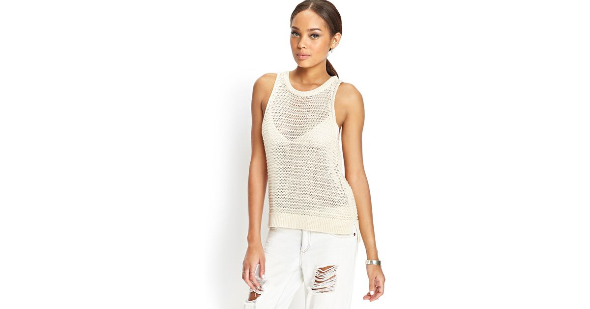 Lyst Forever 21 Open Knit Sweater Tank In White
