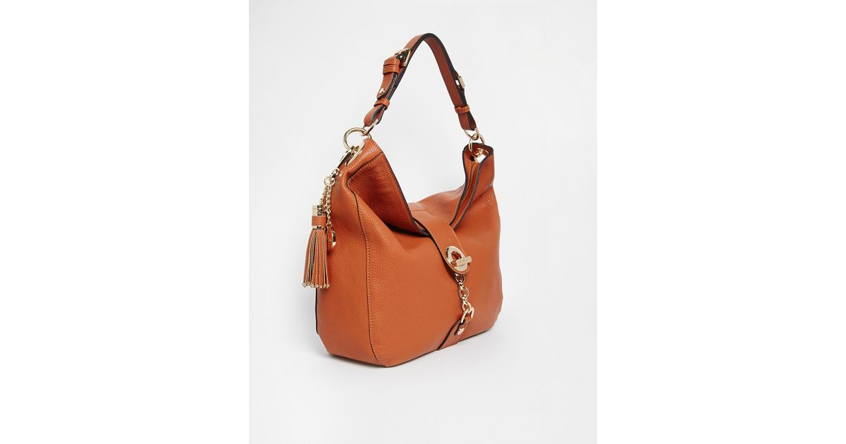 bf65cce21e Lyst - Dune Dobbly Slouch Hobo With Chain And Tassel Detail in Brown