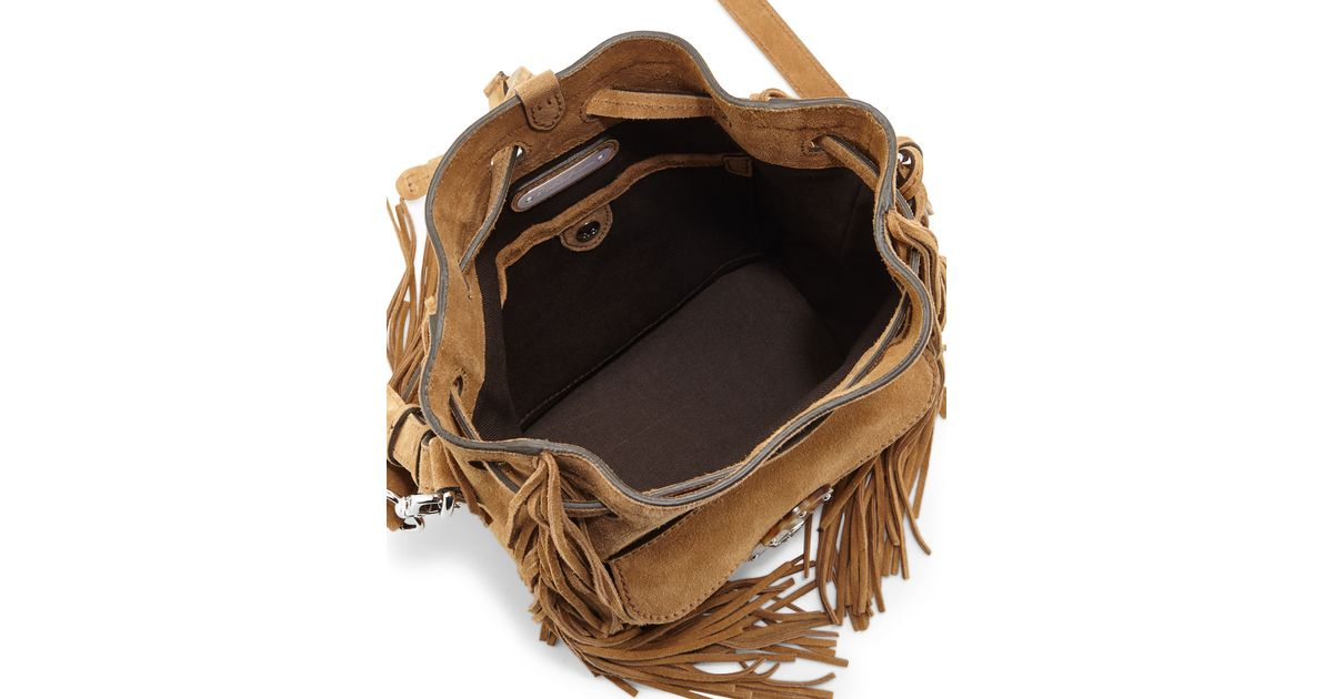 7c207bfb005a Lyst - Ralph Lauren Ricky Fringed Bucket Bag in Natural
