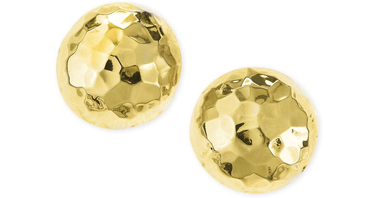 Lyst Nest Post Hammered Gold Plated Half Ball Stud Earrings In Metallic