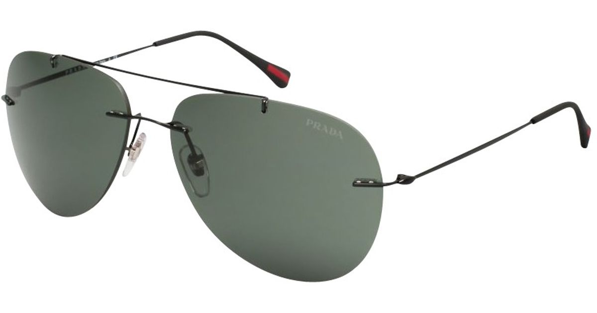 c9721d69ba Prada Ps 50Ps Aviator Frame Sunglasses in Black - Lyst
