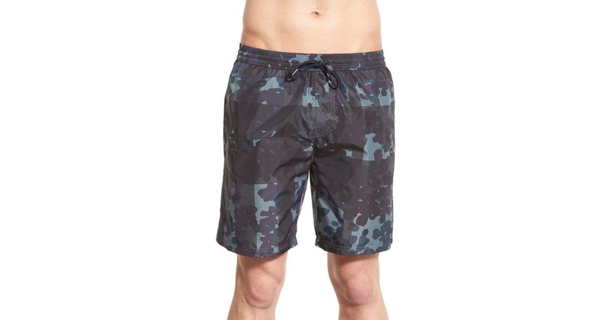 b5bd8efdf0c2 Lyst - Burberry Brit  gowers  Check Swim Trunks in Gray for Men
