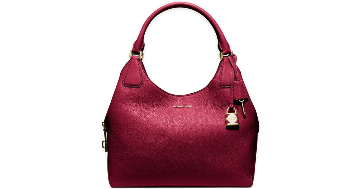 87122d7fd58a Michael Kors Camille Large Leather Shoulder Bag in Red - Lyst